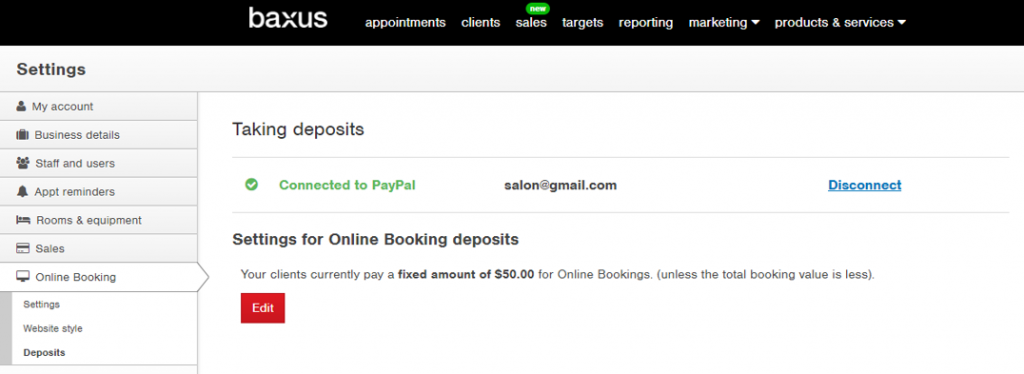 Online booking deposits - baxus